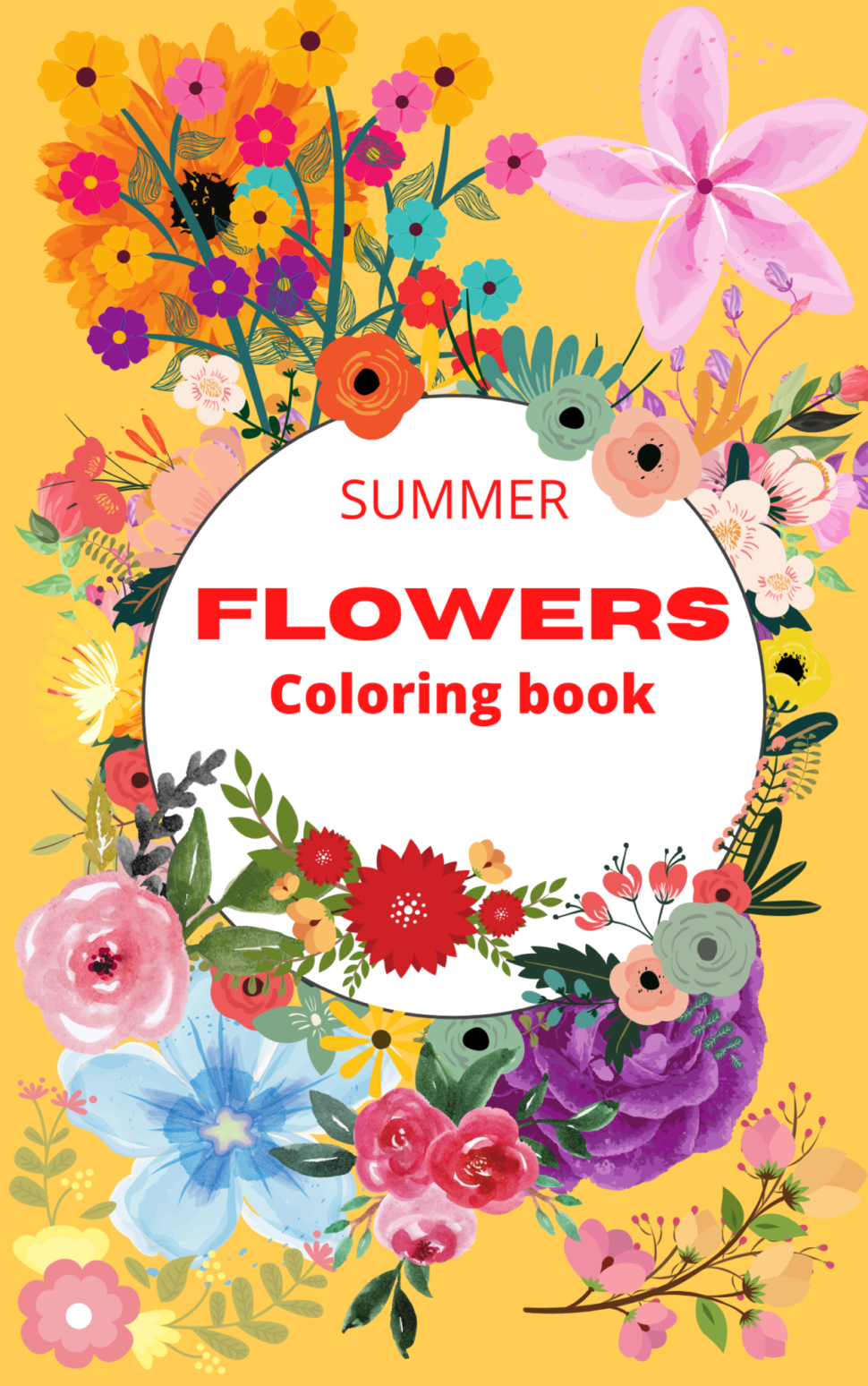 Summer flowers coloring book